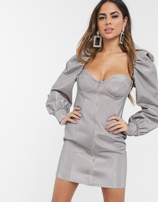 ASOS DESIGN silver power puff sleeve zip front bodycon mini dress