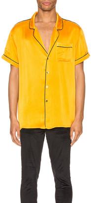 Keiser Clark Silk Pajama Shirt in Golden Yellow | FWRD