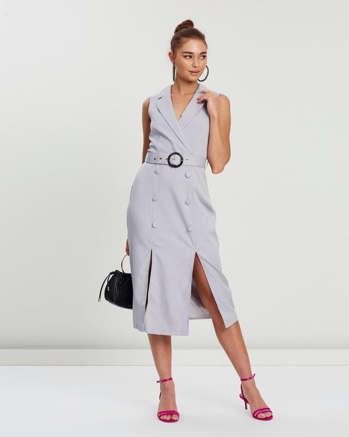 Missguided Sleeveless Belted Midi Blazer Dress