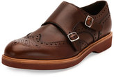 Salvatore Ferragamo Fabriano Calfskin Double Monk-Strap Loafer with Contrast Sole, Tan