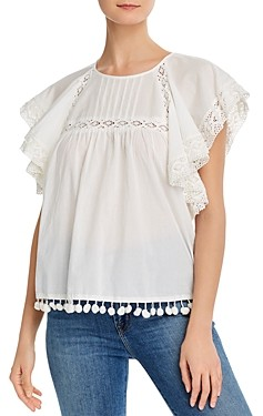 French Connection Cadenza Lace Trim Blouse