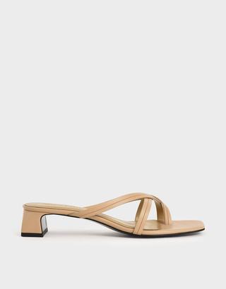 Charles & Keith Strappy Toe Loop Heeled Sandals