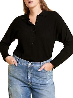 Marina Rinaldi, Plus Size Amelia Long-Sleeve Polo Shirt