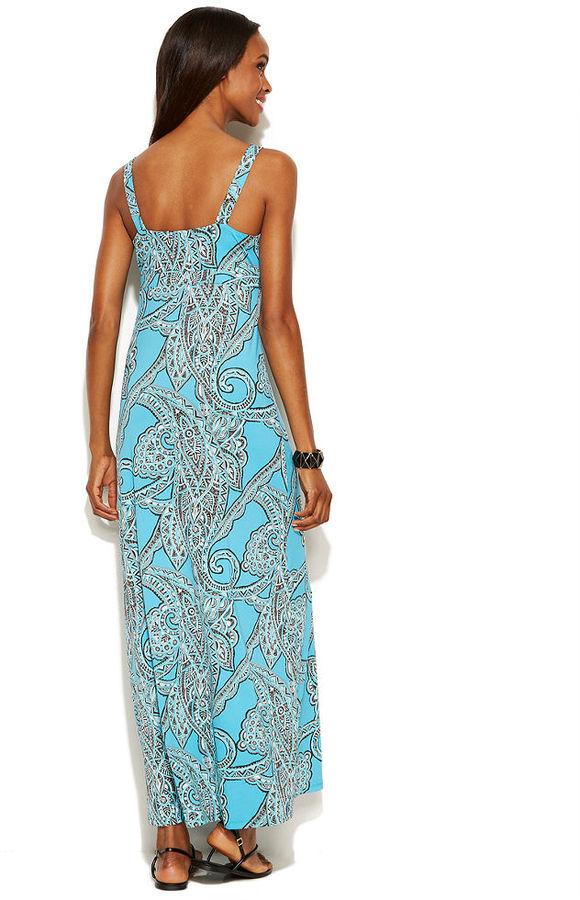 INC International Concepts Embellished Sleeveless Printed Maxi Dress