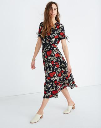 Madewell Peekaboo-Sleeve Midi Dress in Hillside Daisies