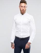 Asos Skinny Sateen Shirt In White