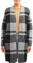 Time and Tru Women's Double Knit Plaid Cardigan