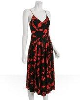 black printed silk v-neck dress