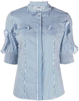 Liu Jo Striped Ruffle-Trimmed Shirt