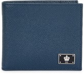 Dolce & Gabbana Blue Saffiano Leather Wallet
