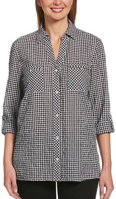 Rafaella Women's Gingham Roll-Tab Sleeve Shirt