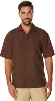 Cubavera Short Sleeve Grid Embroidered Panel Camp Collar Shirt