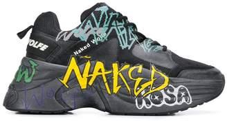 Naked wolfe graffiti platform low top sneakers
