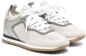 BRUNELLO CUCINELLI KIDS Leather-Trim Low-Top Sneakers