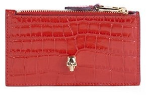 Alexander McQueen Small Skull Croc-Embossed Leather Zippered Card Holder