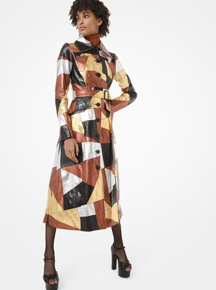 Michael Kors Metallic Patchwork Leather Trench Coat