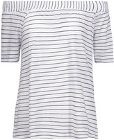 Splendid Off-the-shoulder striped stretch-jersey top