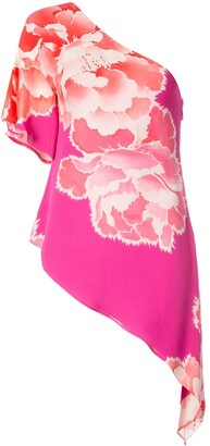 Josie Natori Peoony Georgette Waterfall Blouse