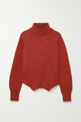 Monse Upside Down Oversized Cutout Merino Wool Turtleneck Sweater - Brick