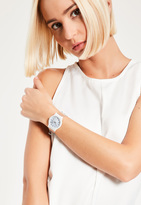 Missguided Silver Marble Face Clear Strap Watch