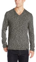 DKNY Men's Long Sleeve Space Dye End On Endstripe V-Neck Sweater