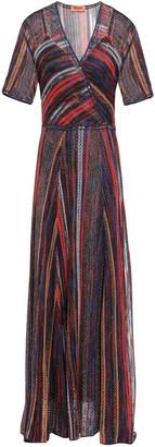 Missoni Layered Metallic Striped Crochet-knit Maxi Dress