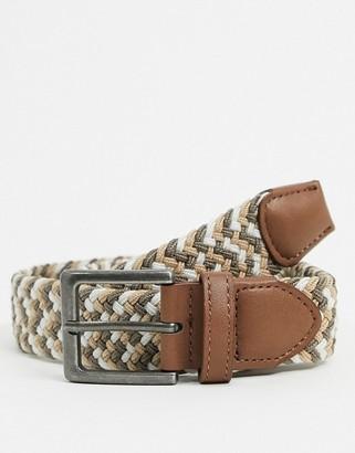 ASOS DESIGN slim woven belt in beige with burnished silver buckle