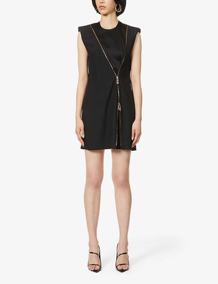 Versace Zipped crepe midi dress