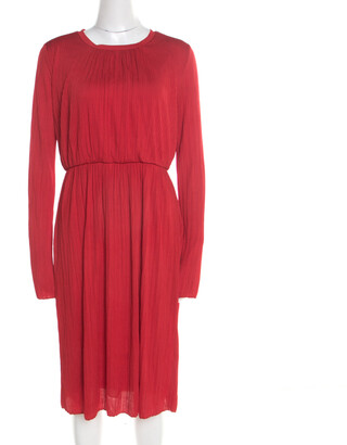 Max Mara Red Plisse Jersey Xiria Long Sleeve Midi Dress M