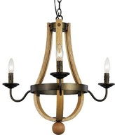 Laurèl Dimitri 3 - Light Candle Style Empire Chandelier with Wood Accents Foundry Modern Farmhouse