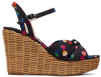 Kate Spade Anita Cherry-Print Satin & Raffia Wedge Sandals