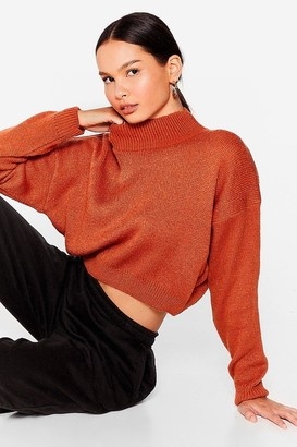 Nasty Gal Womens In Our Comfort Zone High Neck Knit Sweater - Rust
