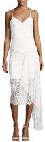 Milly Gisele Lace Midi Dress w/ Side Cascade, White