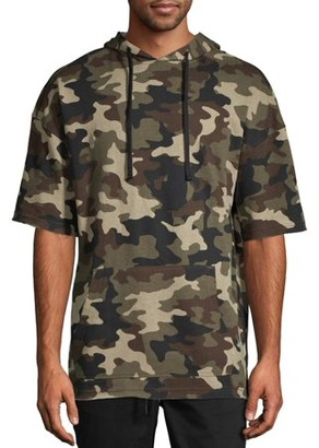 No Boundaries Men's and Big Men's Camo Short Sleeve Hoodie, up to Size 3XL