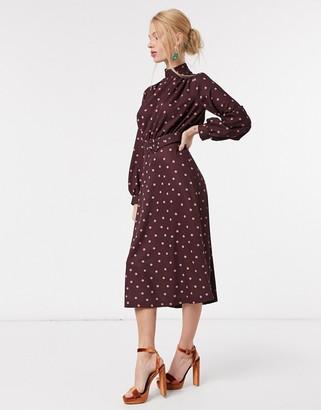Closet London high neck belted midi dress in burgundy blush spot print