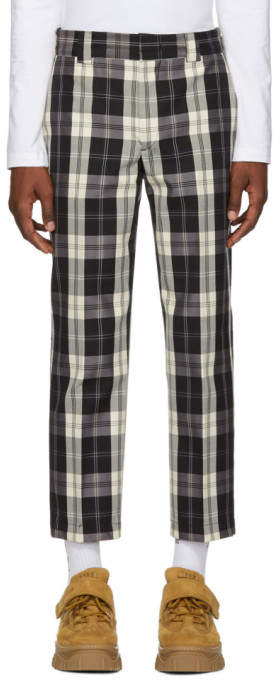 MSGM Black and White Check Trousers