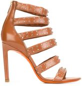 Santoni studded rear zip sandals - women - Leather/Swarovski Crystal - 37