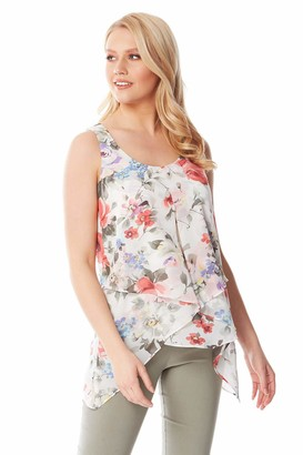 Roman Originals Women Floral Print Sleeveless Asymmetric Top - Ladies Round Neck Smart Casual Flattering Light Blouse for Summer Holiday Evening Special Occasions Top - White & Pink - Size 10