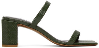 BY FAR Green Croc Tanya Heeled Sandals