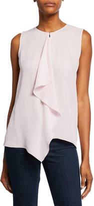 Elie Tahari Pernilla Sleeveless Drape-Front Silk Blouse