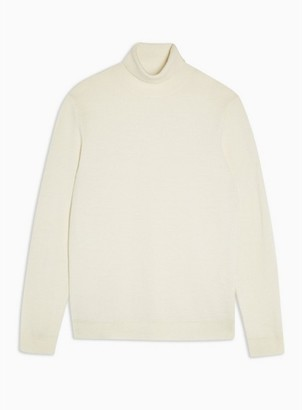 Topman Mens Cream Premium Ecru Merino Wool Roll Neck Sweater