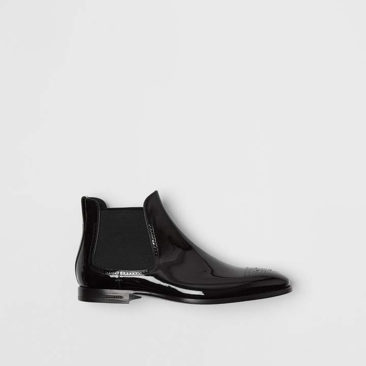 Burberry Polished Leather Chelsea Boots