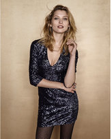 Express deep v-neck sequin mini dress