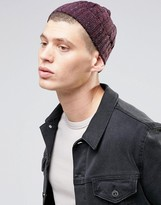 Asos Cable Fisherman Beanie In Burgundy Nep