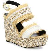 Oscar de la Renta Laser-Cut Calfskin Leather & Raffia Wedge Sandals