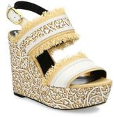 Oscar de la Renta Laser-Cut Leather & Raffia Wedge Sandals