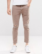 Asos Skinny Cropped Jeans With Extreme Knee Rips In Light Brown