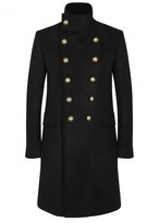 Balmain Black Double-breasted Cashmere Coat