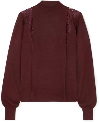 Chloé Lace-trimmed Wool And Silk-blend Turtleneck Sweater