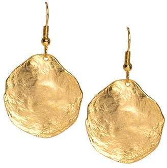 Kenneth Jay Lane Brushed Satin Gold Disc Fishhook Pierced Earrings